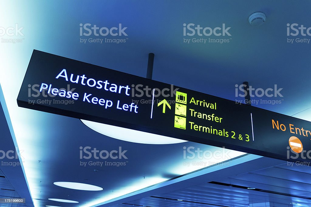 Arrival, Transfer and Terminal Sign Panel at the Airport stock photo