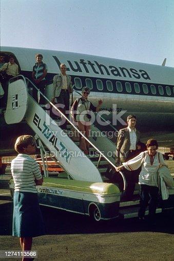 Tel Aviv, Jerusalem, 1977. Passengers leave a Boeing 727 of the Lufthansa airline on the airfield of Tel Aviv Airport.