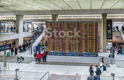 469824732istockphoto Arrivals and departures board at Charles de Gaulle Airport - Paris, France 689068526