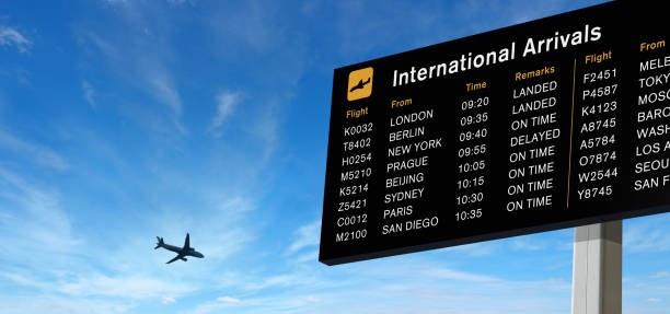 arrivals board and airplane on the sky - arrival departure board stock photos and pictures