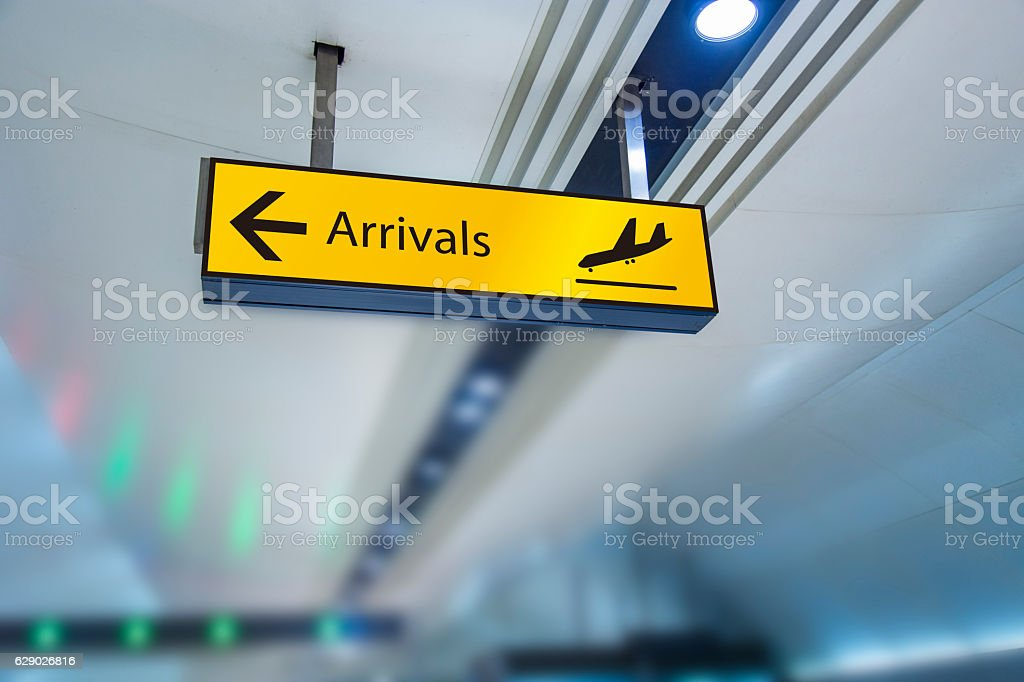 Arrivals board stock photo