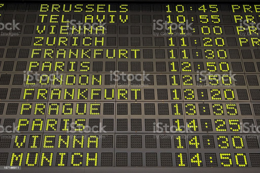 Arrivals departure board stock photo