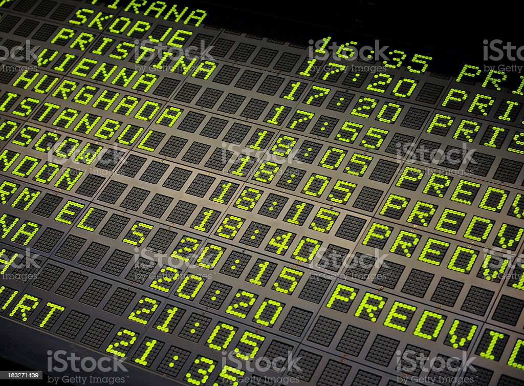 Arrivals departure board royalty-free stock photo