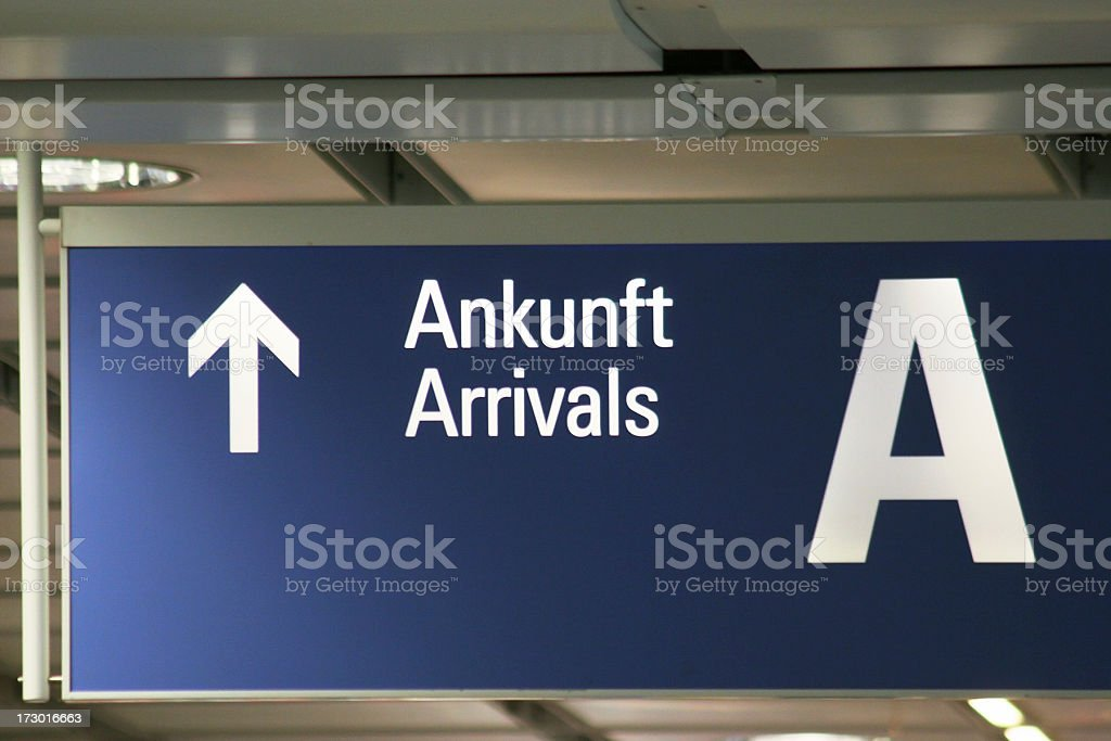 Arrivals direction royalty-free stock photo