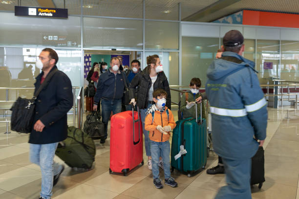 Arrivals gate of Boryspil airport with returning people