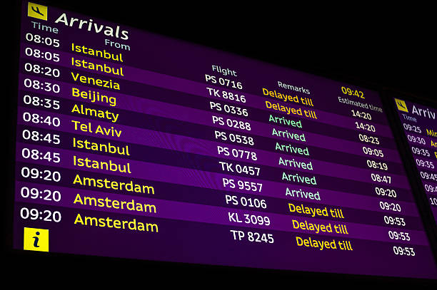 arrivals information board in airport - schiphol stockfoto's en -beelden