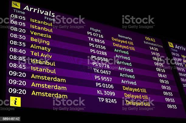 Arrivals Information Board In Airport Stockfoto en meer beelden van 'Vertraging'-bord