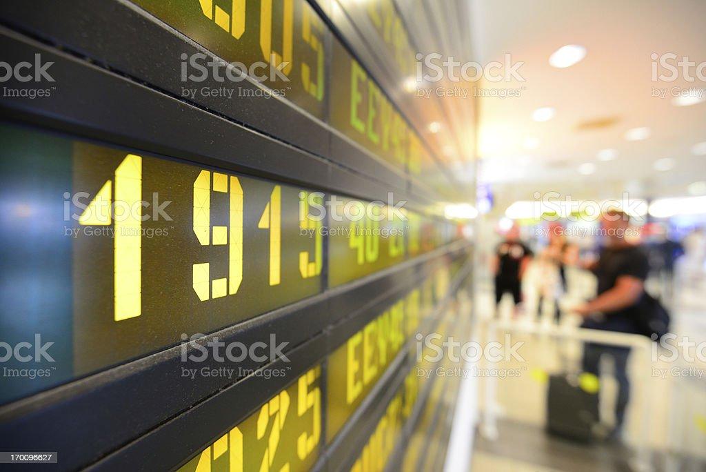 Arrivals/departures board stock photo