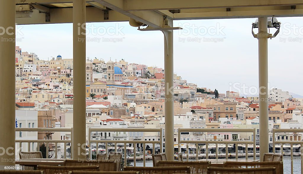 Arriving at Syros island in winter stock photo