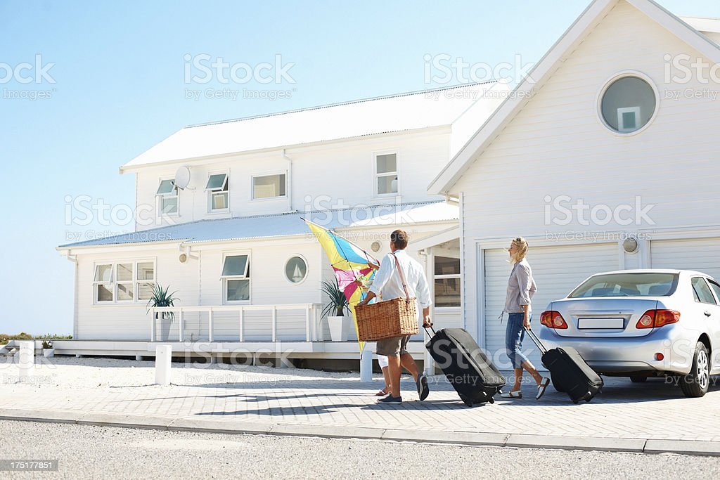 Arriving at their holiday destination stock photo