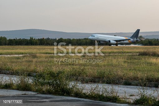 istock Arriving flight at the airport in Varna. 1079777322
