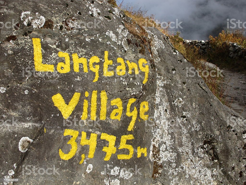 Arriving in Langtang stock photo