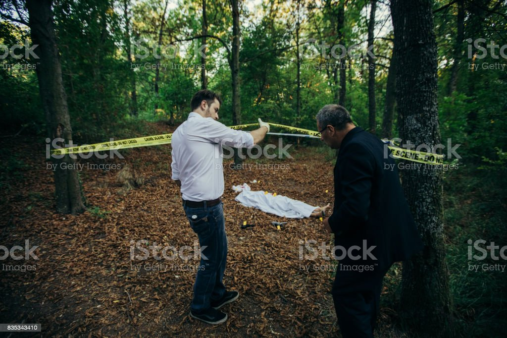 Arriving to the crime scene stock photo