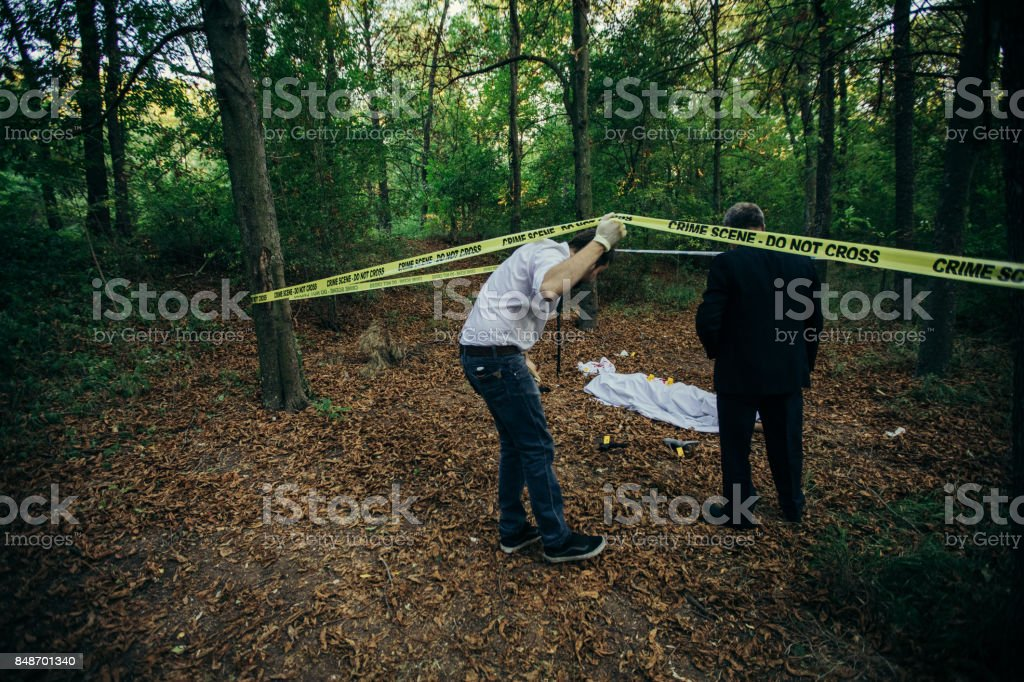 Arriving to the murder scene stock photo