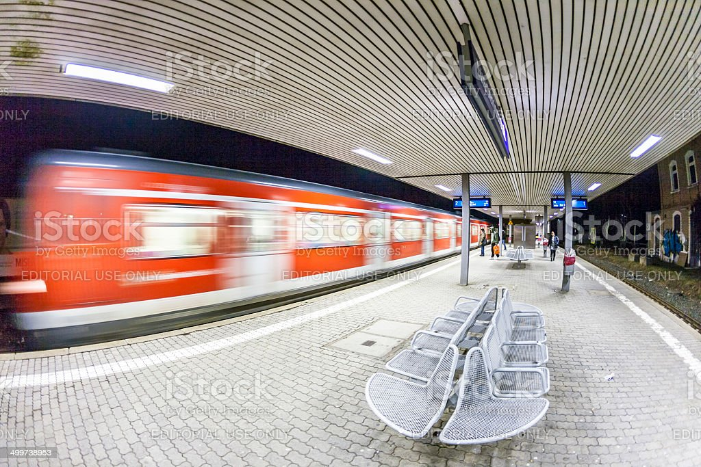 arriving train in the train station royalty-free stock photo