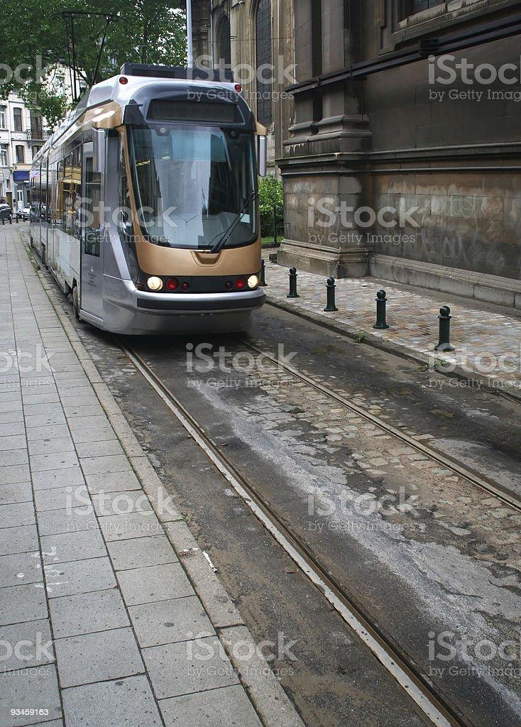 Arriving tram stock photo