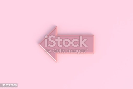 935214858istockphoto Arrow abstract minimal pink background, 3d rendering 928212680