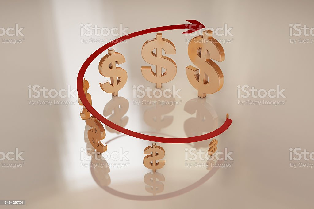 Arrow and currency symbol stock photo