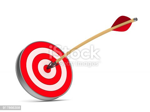 istock arrow and dartboard on white background. Isolated 3D illustration 917866358
