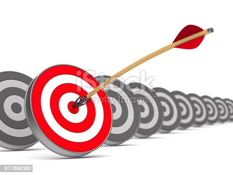 902406974 istock photo arrow and dartboard on white background. Isolated 3D illustration 917866360