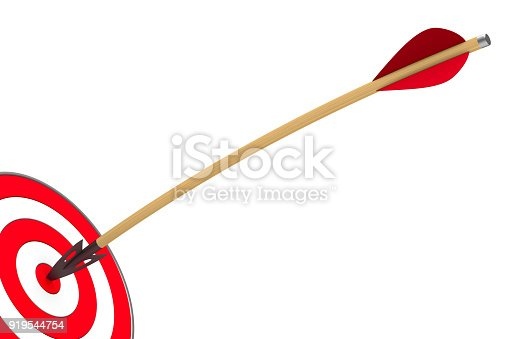istock arrow and dartboard on white background. Isolated 3D illustration 919544754