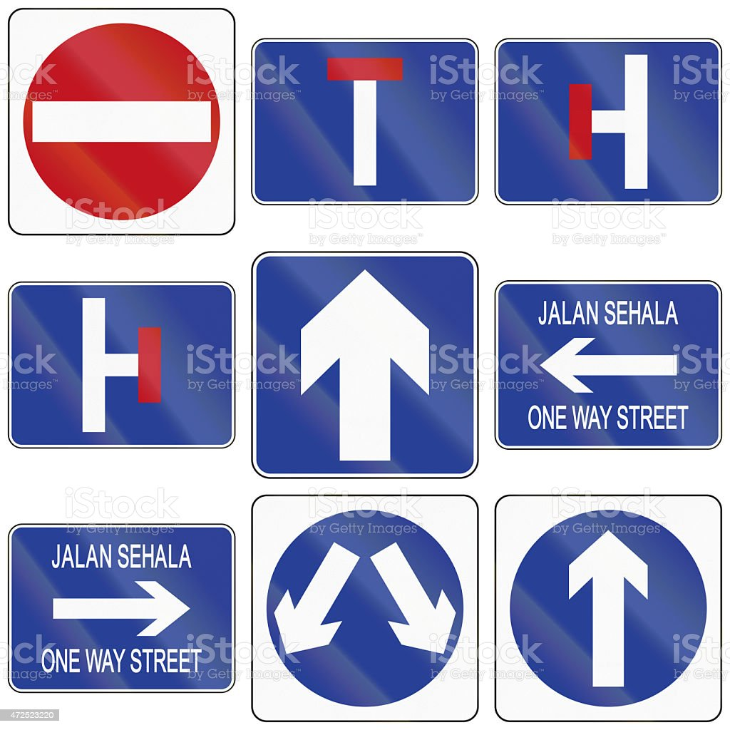Arrow And One Way Road Signs In Brunei Stock Photo More Pictures
