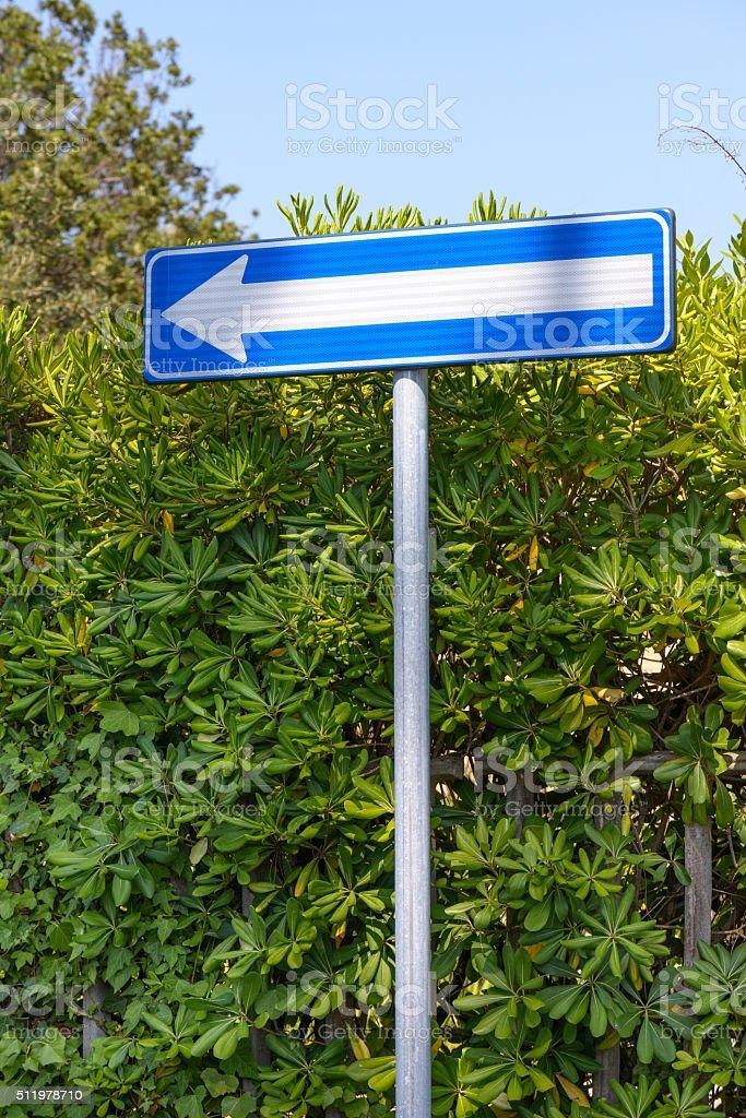 arrow blue left signposting stock photo