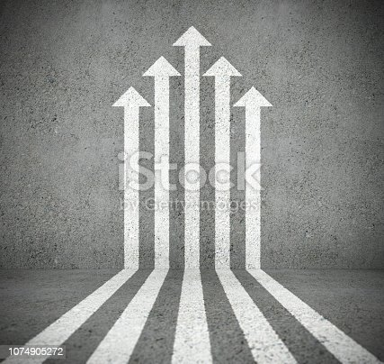 istock Arrow cloud pointing up, progress. Concrete surface. Note details 1074905272