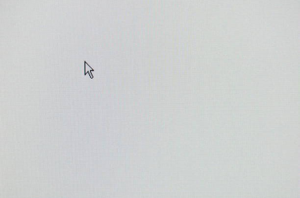arrow computer mouse pointer on white lcd screen - mouse pointer stock photos and pictures