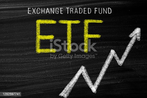 ETF  concept on blackboard