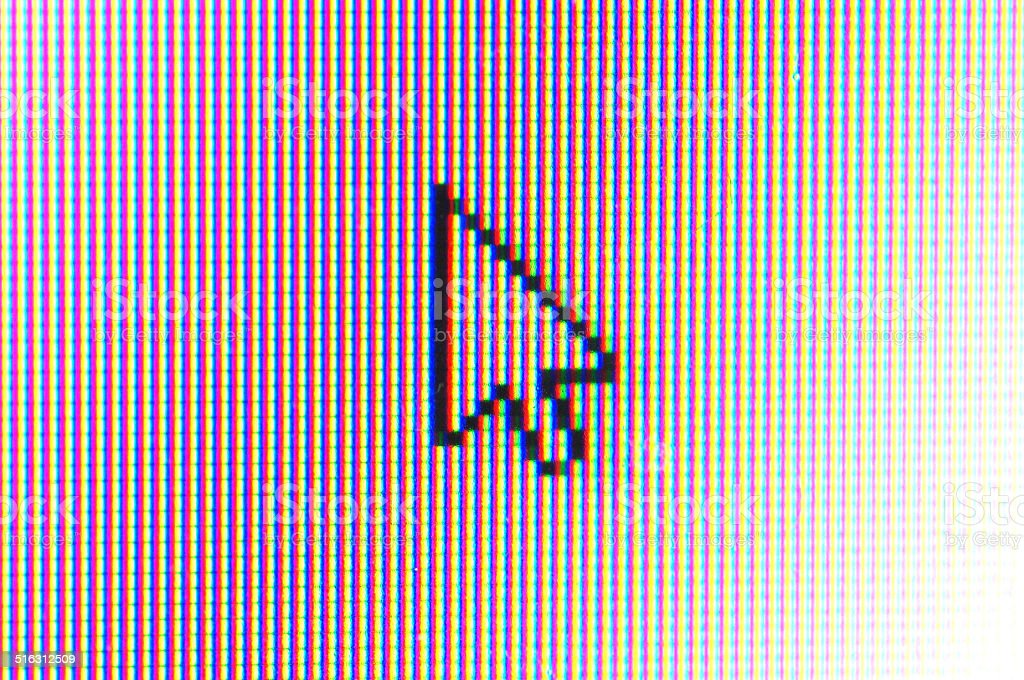 arrow cursor on computer screen stock photo