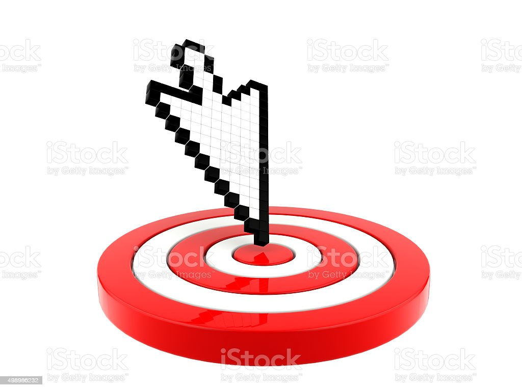 Arrow cursor pointing at target stock photo