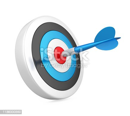 istock Arrow Darts and Target Isolated 1136000350