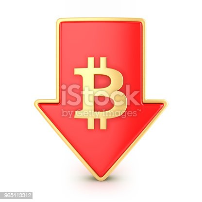 842160218istockphoto Arrow down with bitcoin symbol 965413312