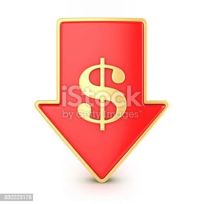 842160218istockphoto Arrow down with dollar 532223175