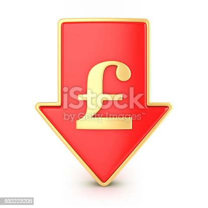 842160218istockphoto Arrow down with pound 532223205
