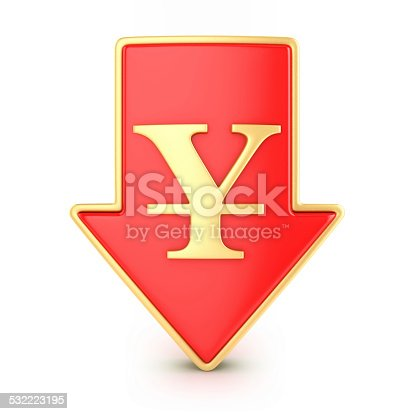 842160218istockphoto Arrow down with yen 532223195