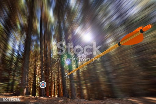 859332096istockphoto Arrow flying to target with radial motion blur 500114756