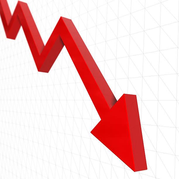 Gráfico de flecha abajo (DOF desaparecer - foto de stock