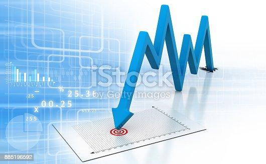 istock Arrow Graph showing business decline 885196592