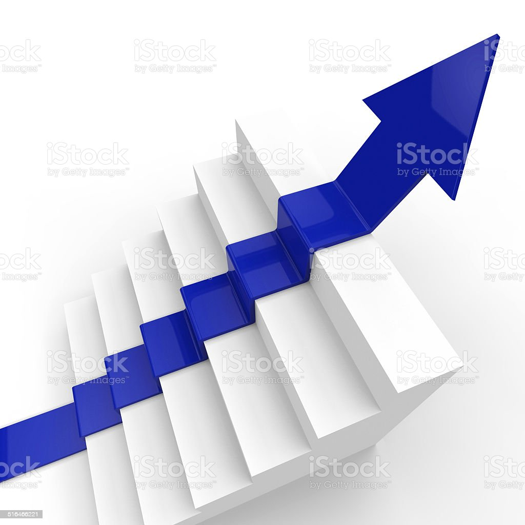 Arrow Growth Represents Succeed Prevail And Improve stock photo
