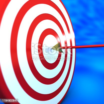 826378430 istock photo Arrow hit exactly the target. 1194902647