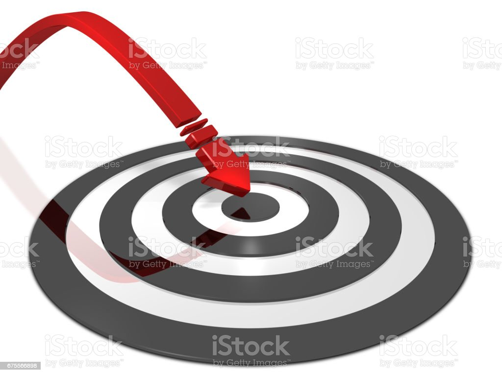 Arrow hitting the center of target. stock photo
