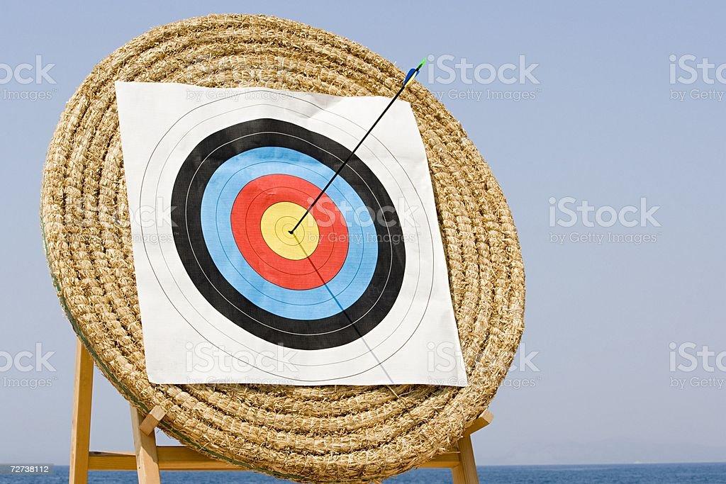 Arrow in archery target royalty-free stock photo
