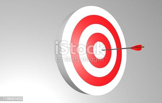 859332096 istock photo Arrow in target. 1126407423