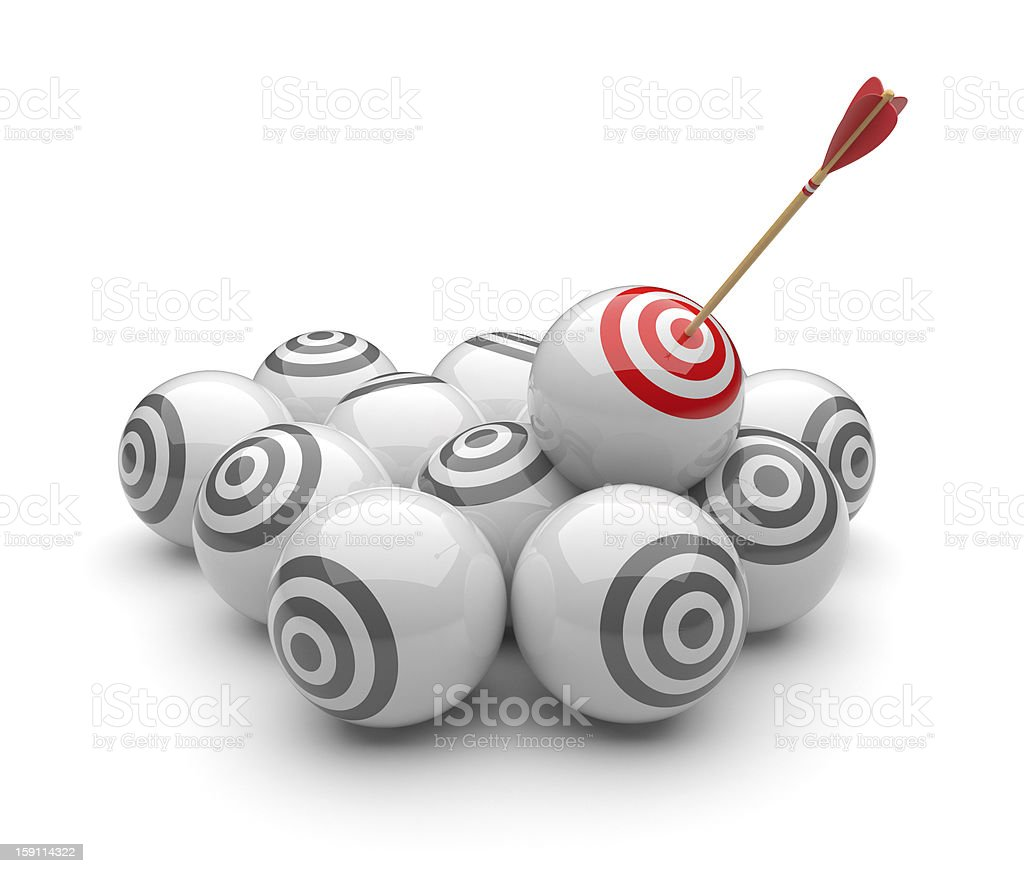 Arrow in targets 3D. Success hitting. Isolated royalty-free stock photo