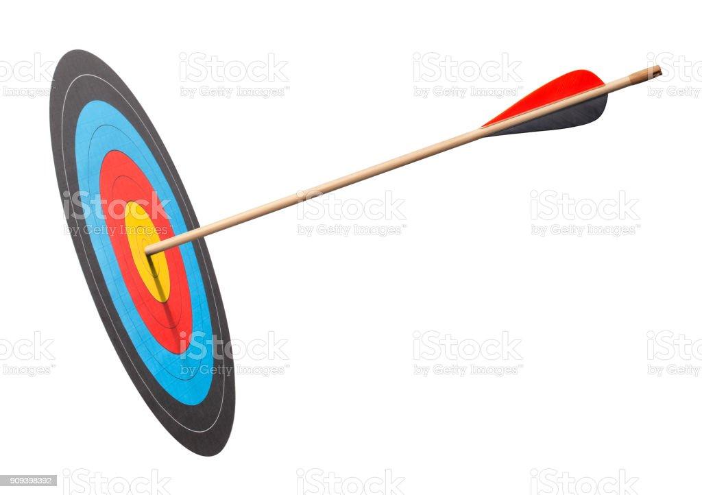 Arrow in the bullseye of an archery target stock photo