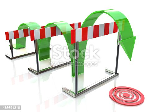 istock Arrow jumping over hurdles 486691316