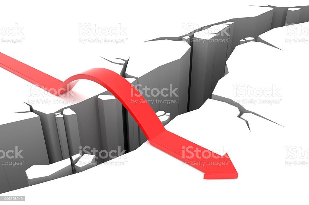 Arrow jumps over rift stock photo