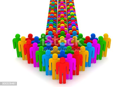 688200936 istock photo Arrow made from colorful 3d people 500326461